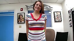 Curvy girl in the casting office fucked in her soaking wet cunt