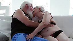 Old man fucks the old granny and cums on her saggy tits