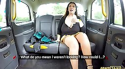 Senior single Josephine James with massive natural bazooms in the fake taxi