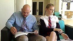 Petite student in short kilt skirt Melody Marks hooks up with bald headed teacher