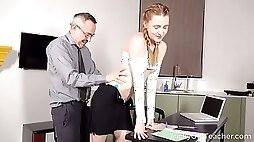 To better her grades hot coed ends up sucking her teachers cock