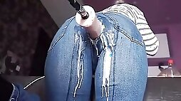 Mother Takes Dick through her Jeans to Intense Orgasms