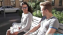Goody goody in glasses gets fucked and jizzed on the first date