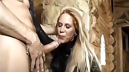 Hooded babe in latex and thigh high boots gets her ass ploughed