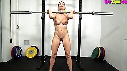 Muscled mom Works Out Naked Fitness with busty blonde amateur MILF Cory Chase