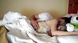 Step brother fingering sleeping sister