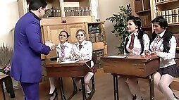 Naughty students fucking each other in the classroom