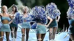 Skanky cheerleader screams wild getting screwed doggy style