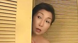 Mature Japanese wife gets doggystyle fucked in the bathroom
