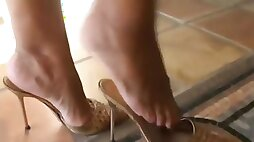 Mature legs and feet in high heels mules best of