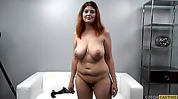 Big Breasted Redhead Chubby Mommy At Casting