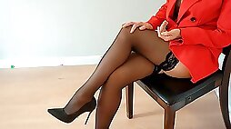 Boss cums young secretary on boobs