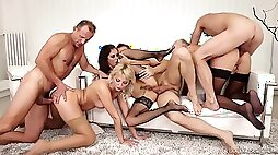 Group swinger party with glamour babes