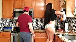 FUCKING AND COOKING! Thick Latina wife gets fucked while husband cooks