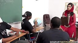 Arab teacher fucked by her black students in classroom