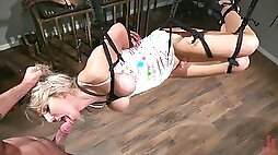 Slutty ladyboy Kayleigh Coxx is tied up and fucked by horny pervert