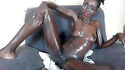 One African Girl Masturbates