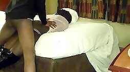 Ebony amateur in high heel boots is banged by BBC