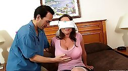 Blind folded wife experiences her first gangbang