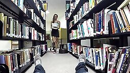 Shortie Breeze strokes and blows dick pov in the library for a mouthful