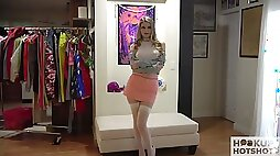 Lovely looking beauty Bunny Colby stripteases flashing her nice titties