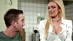 Amber Jayne fucking her hung stepson on the dinner table