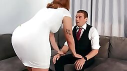 MILF with big melons is prepared to be fucked by the modest guy