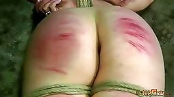Short haired brunette slave is bounded with ropes and punished