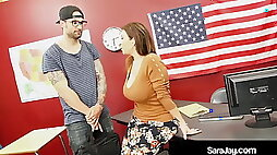 Plump Professor Sara Jay Fucked and Cummed On By Hard Student!