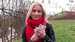 Amateur teen blonde gal got some money in exchange for a bit of nudity