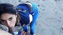 Oral Intercourse and Swallowing on the Beach