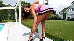 Hannah Hunter upskirt video and playing with a glass dildo
