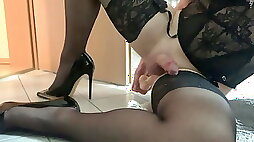 Young Sissy fucking with dildo cums on heels