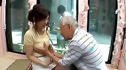 Candid young girl be seduced by old man