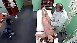 Medical exam turns fucking on the hospital bed with cute patient