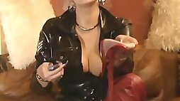 Naughty leather latex lady