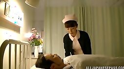 Naughty voyeur loves watching nasty nurse playing dirty with cock