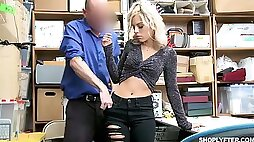 To escape from the police station lusty Allie Nicole lures cop for sex