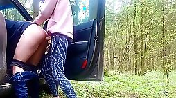 Teen pegging BF in the forest