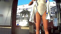 See through white swimsuit in public pool