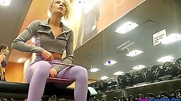 Candid Gym Blonde Ass in Purple Leggings