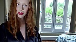 To win a chance to be poked doggy redhead in black stockings gives head