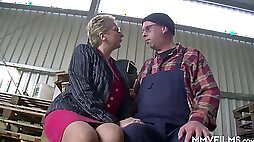 Mature old slut gets bent over and fucked hard from behind