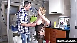 Mature whore gets titty fucked