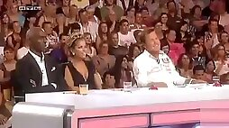 Talent show judge has wicked hot cleavage