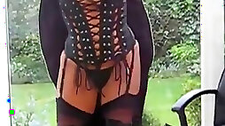 Milf in PVC Coat Leather Lace Up Basque