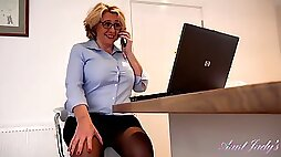Camilla is often working till late but quite often masturbating in her office during short breaks