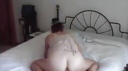 Mature housewife riding dildo doggystyle and reaching climax