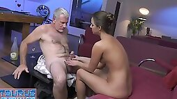 Young slut office girl with small boobies enjoys fucking with mature dude