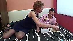 Mature with glasses enjoys getting fucked